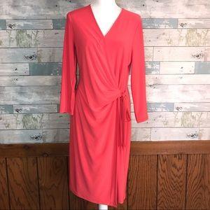 Anne Klein soft red coral wrap dress sz 10 #274